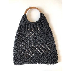 Bags - Macrame handbag wooden handle black